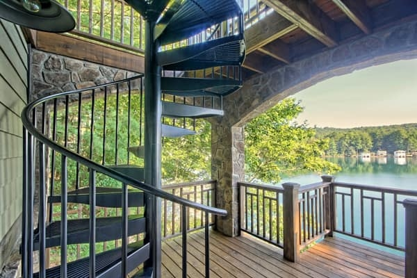 Outdoor Spiral Staircases Weatherproof Paragon Stairs | Spiral Staircase Outdoor Deck | Outside Deck | Built Spiral Stair | Balcony Outdoor | Log | 3 Storey