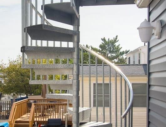 The Cape Cod Galvanized Outdoor Spiral Stairs Paragon Stairs   Cape Cod Staircase Designs   Raised Bungalow Deck   Layered   Interior   Veranda Step   Stair