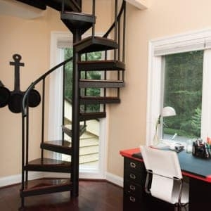 Tiny House Spiral Stairs Paragon Stairs | Staircases For Small Cottages | Open | Small Footprint | Skinny | Corner | Wooden