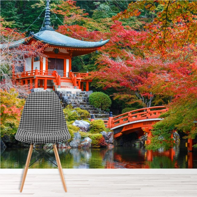 Alte japanische Tempel Wandbild Rote Bäume Tapete Religion
