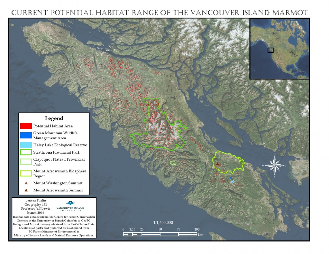2016 Winner   Carto Cup   VIU Current Vancouver Island Marmot Habitat Map