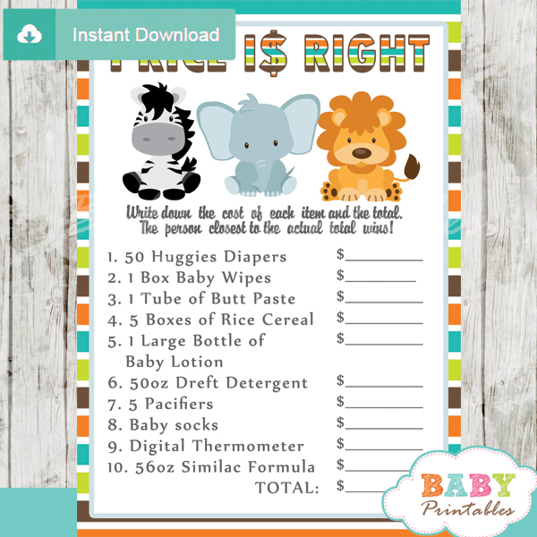 Price Right Baby Shower Game