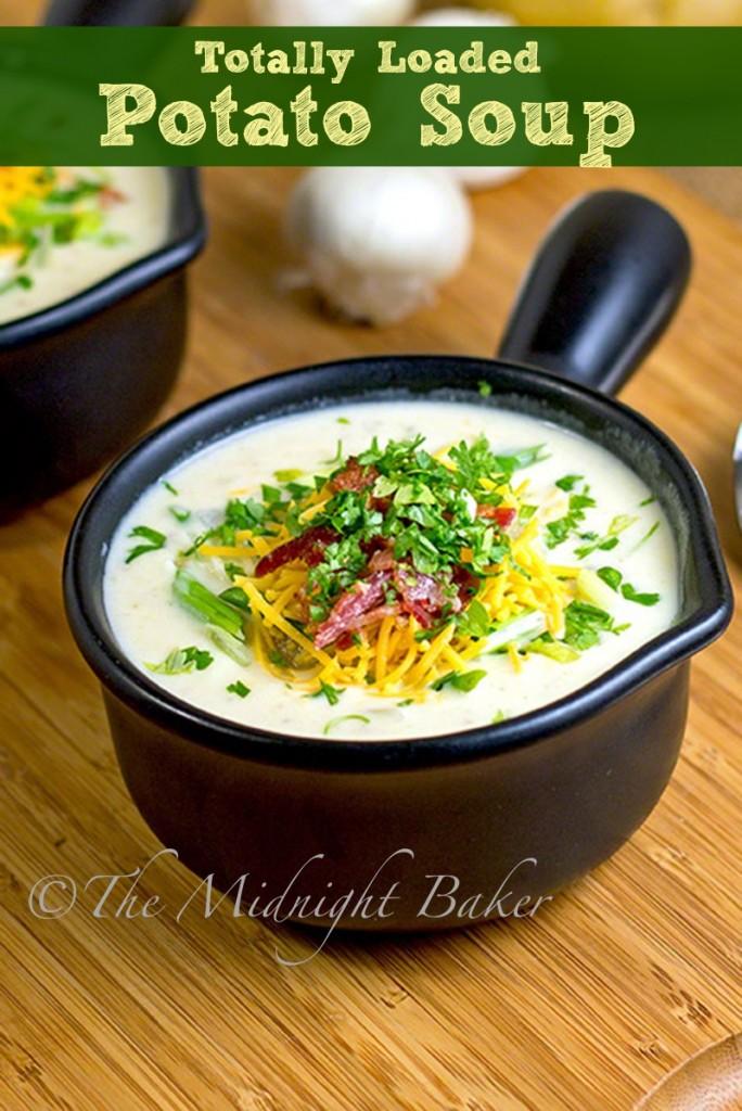 Loaded Potato Soup | bakeatmidnite.com | #potatosoup #soup #loadedpotatoes