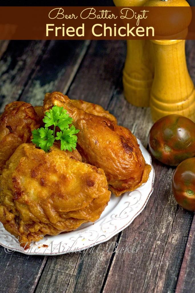 Beer Batter Dipt Fried Chicken | bakeatmidnite.com | #friedchicken #beerbatter #kfc