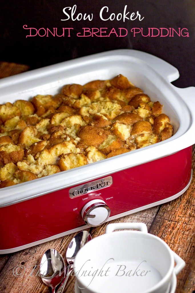 Slow Cooker Donut Bread Pudding   bakeatmidnite.com   #breadpudding #donuts #slowcooker #crockpot