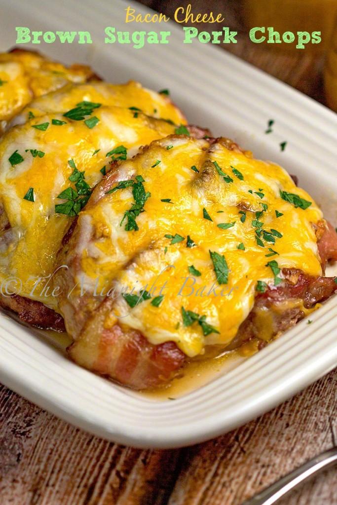 Bacon Cheese Brown Sugar Pork Chops   bakeatmidnite.com   #porkchops #bacon #cheese