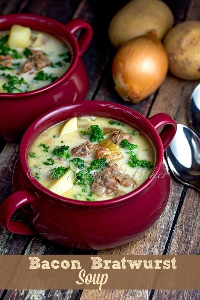 Bacon & Brats Soup   bakeatmidnite.com   #soup #sausage #zuppatuscana