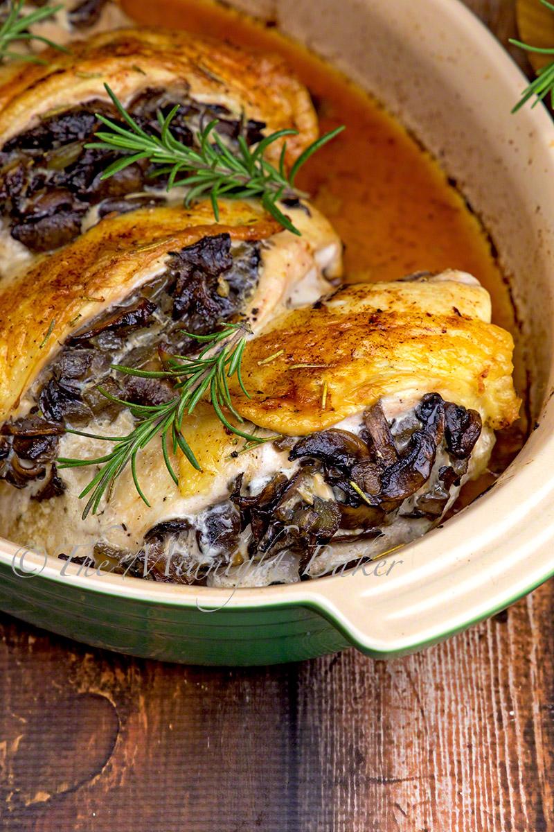 Mushroom Stuffed Chicken Breast with Rosemary Butter