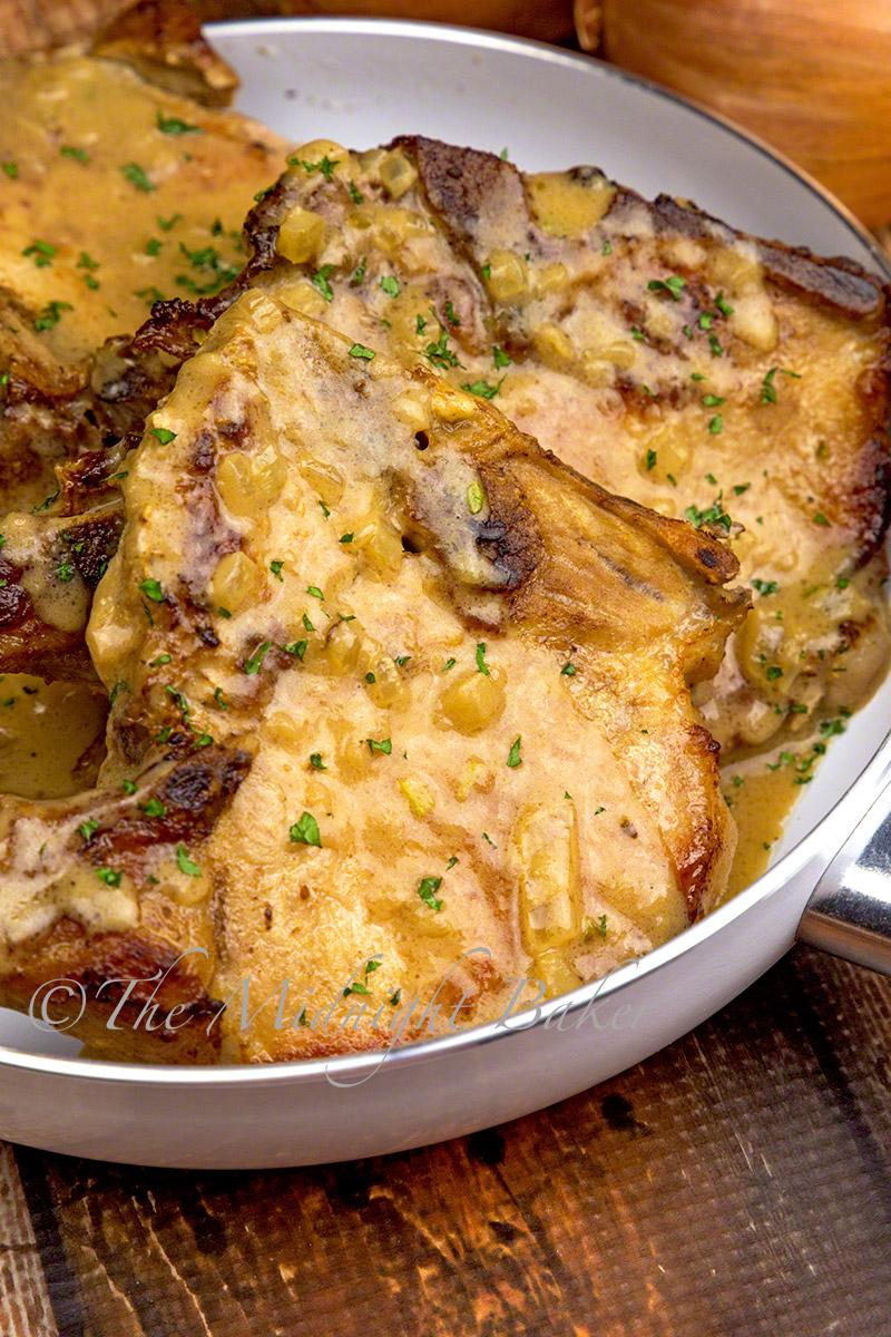Herb-Braised Pork Chops with Creamy Onion Gravy