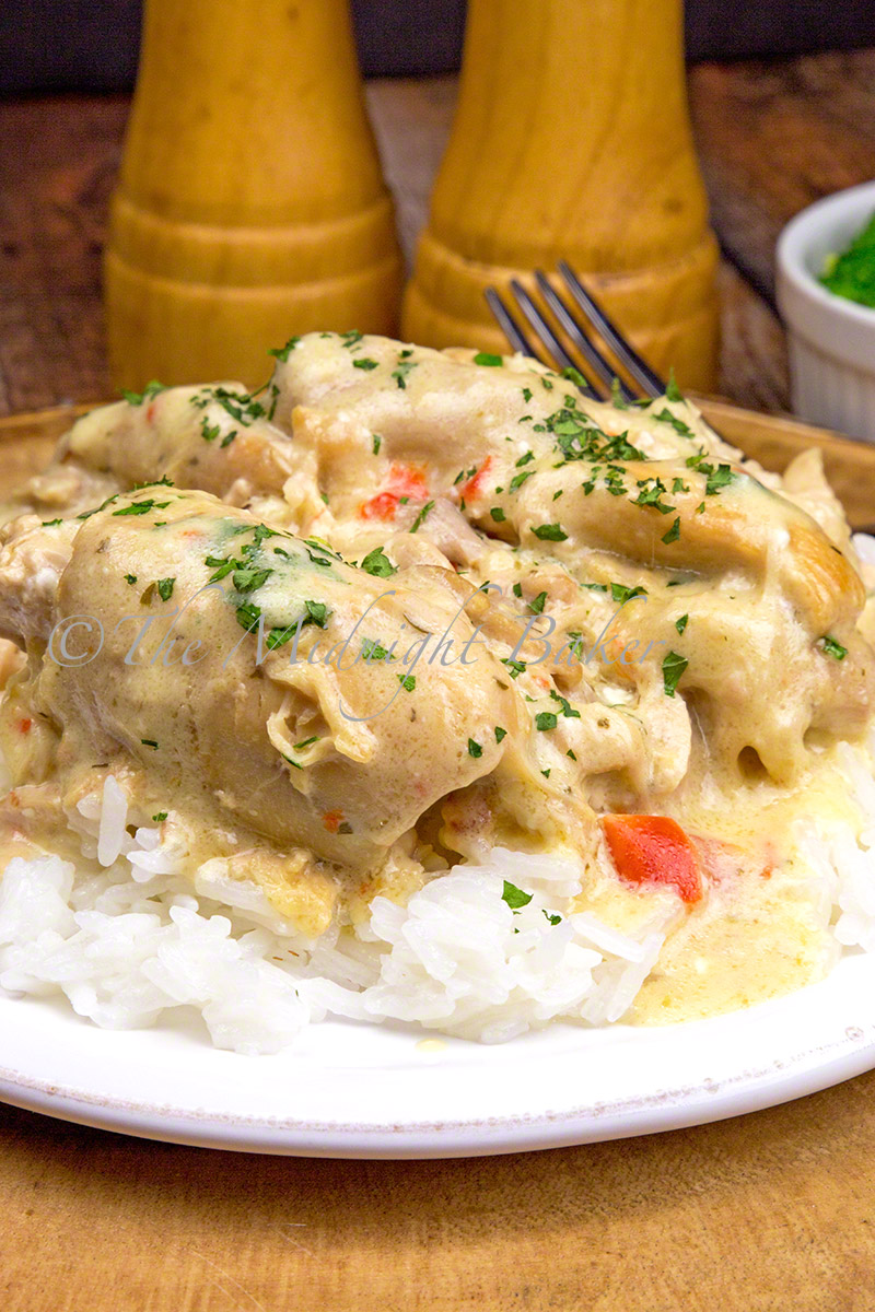 Tender chicken in a creamy ranch gravy is a big dish of comfort.