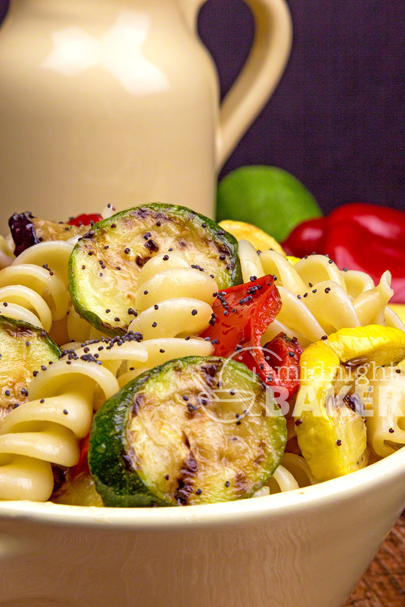 Grill roasted veggies are added to the mix in this perfect pasta salad.