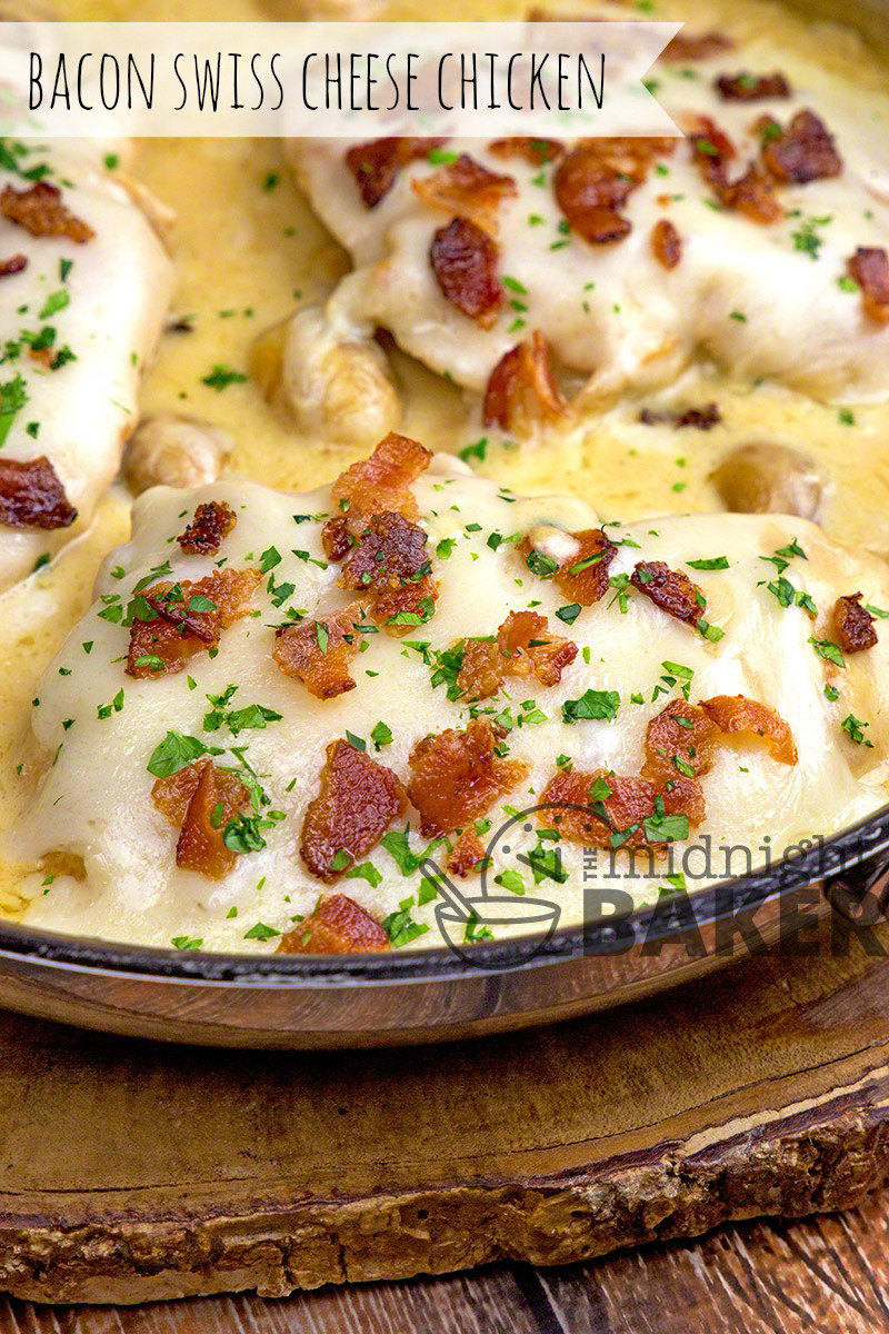 Yummy bacon and swiss cheese make this chicken dinner delicious. Creamy sauce makes it perfect served over pasta