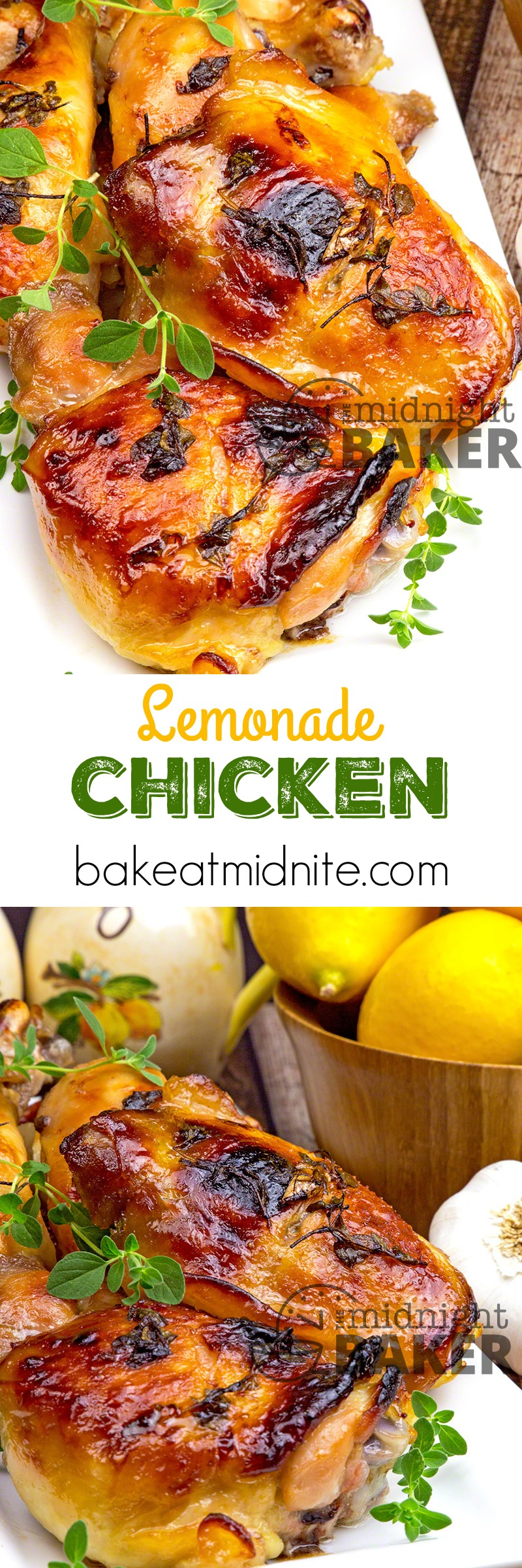 Tangy and slightly sweet chicken uses lemonade and herbs as a marinade.