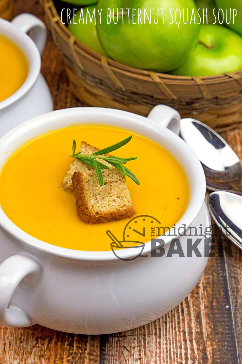"""Nothing says """"fall"""" better than roasted butternut squash made into a creamy soup!"""