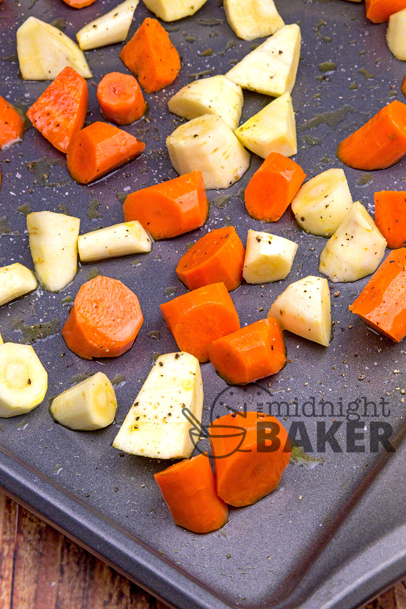 Savory and sweet roasted carrots and parsnips glazed with an orange maple sauce. Easy to make! Great fall side dish.
