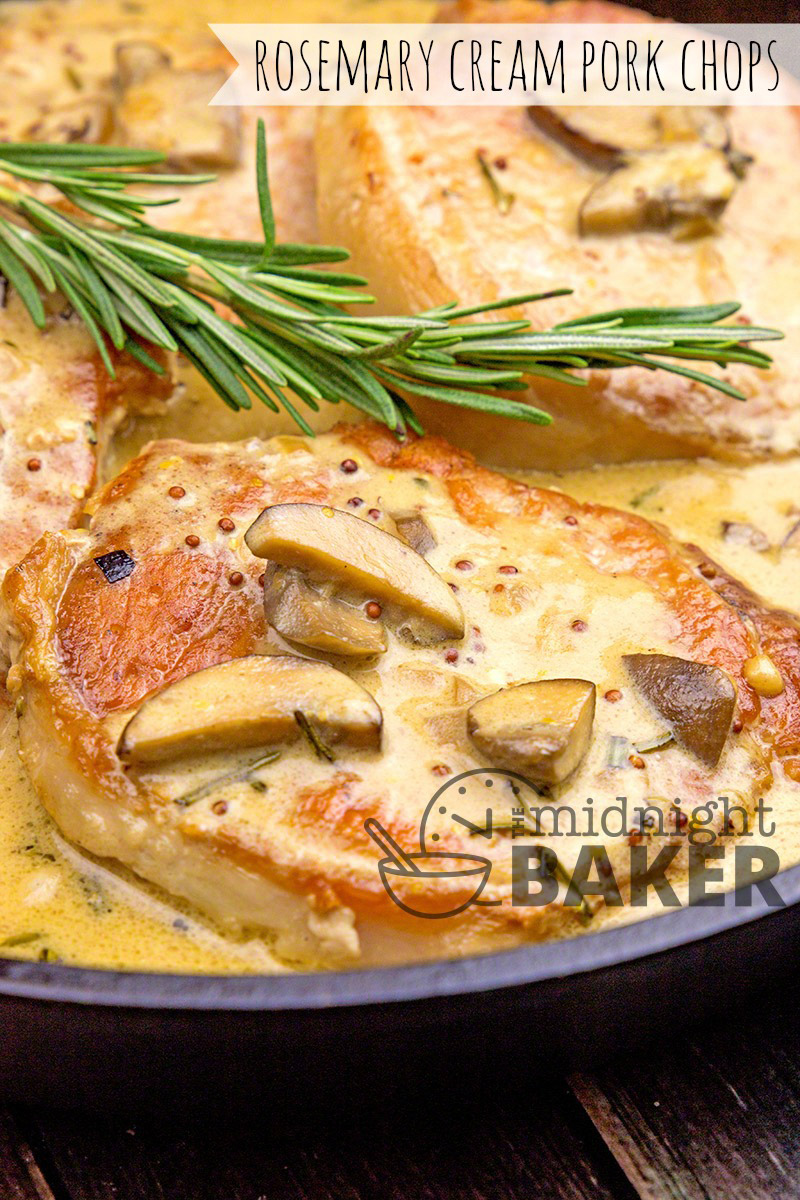 Pork chops cooked with a savory rosemary and mushroom sauce. Quick and easy skillet dinner!