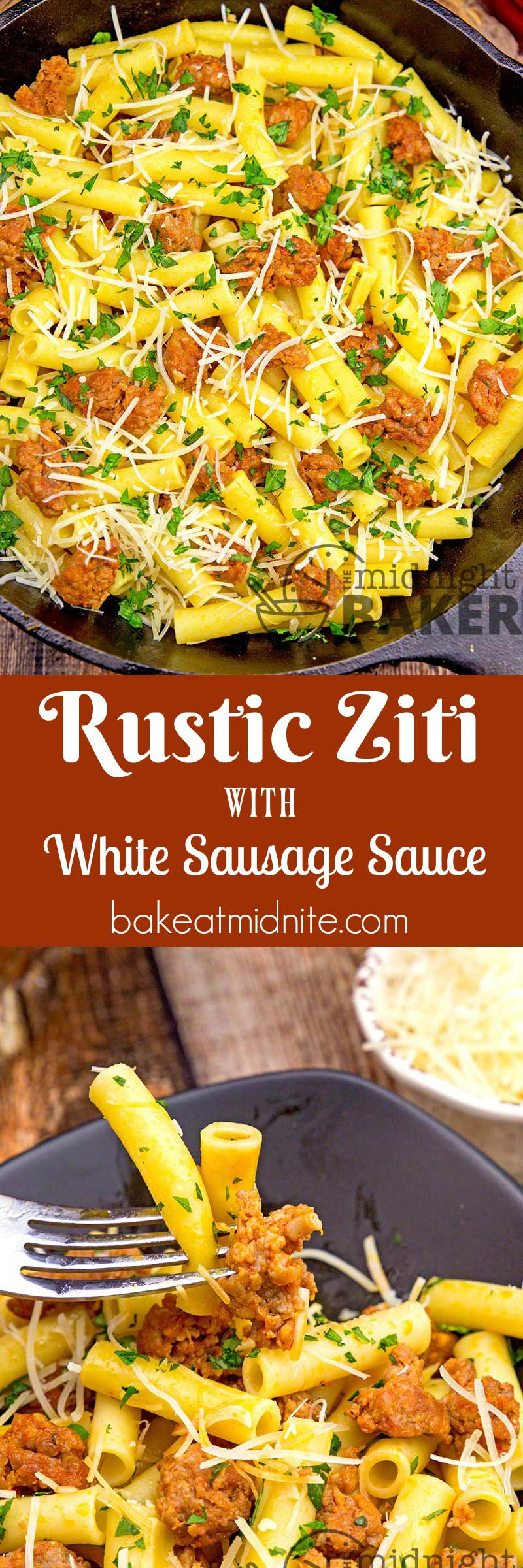 An easy peasy ziti pasta meal with a flavorful white sausage sauce