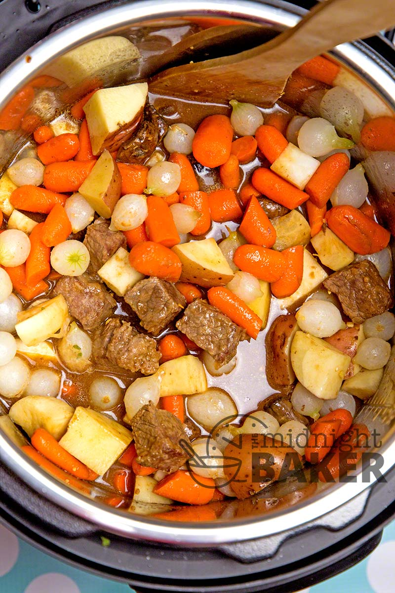 """Get that """"all day"""" beef stew flavor in less than 1 hour with your Instant Pot!"""