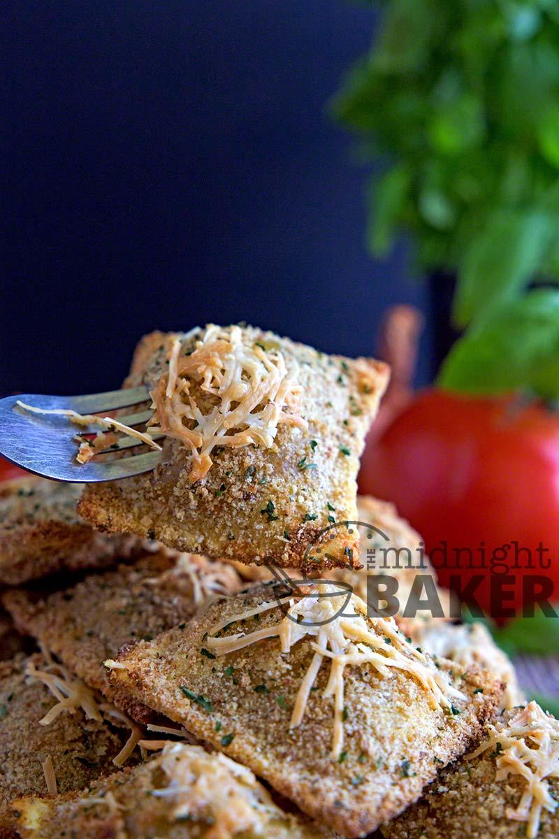 Crunchy and crispy baked ravioli make a great appetizer or snack.
