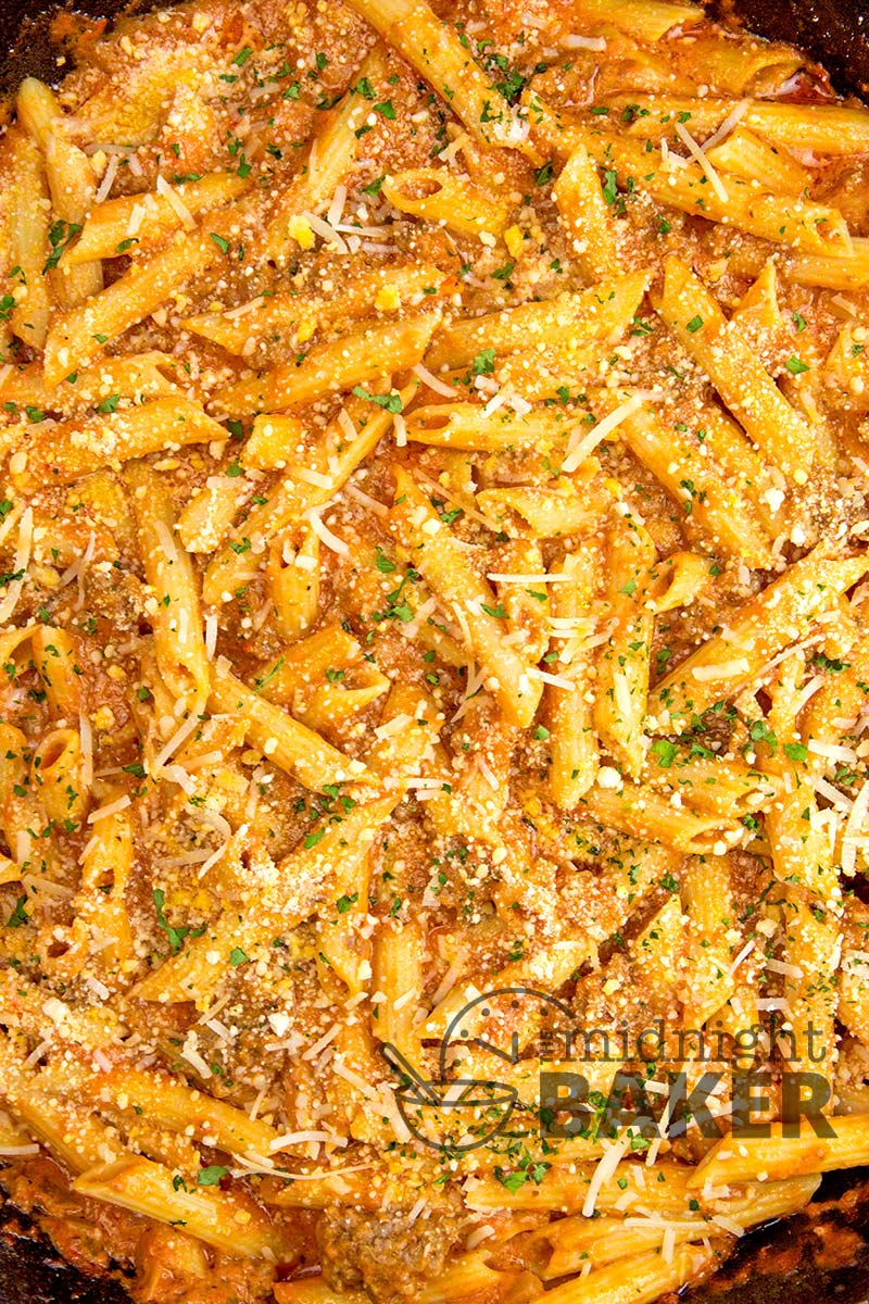 Meaty pasta dinner on the table in a jiffy. Great for using leftover pasta