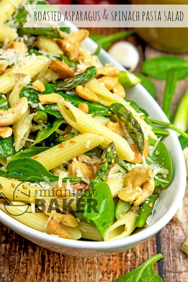 A really different take on pasta salad. This one has roasted asparagus, nuts, seeds and spinach. All in a tangy vinaigrette.