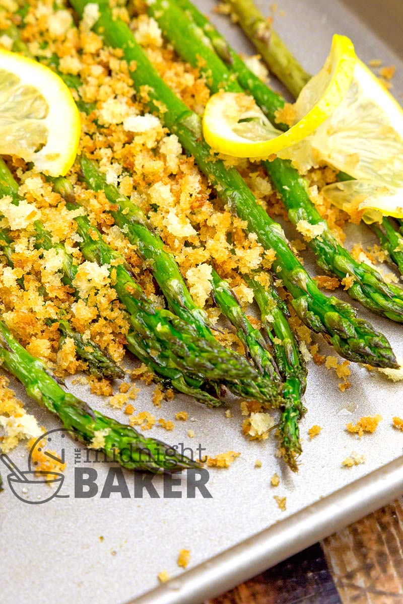 Delicious roasted asparagus topped with buttery crumbs