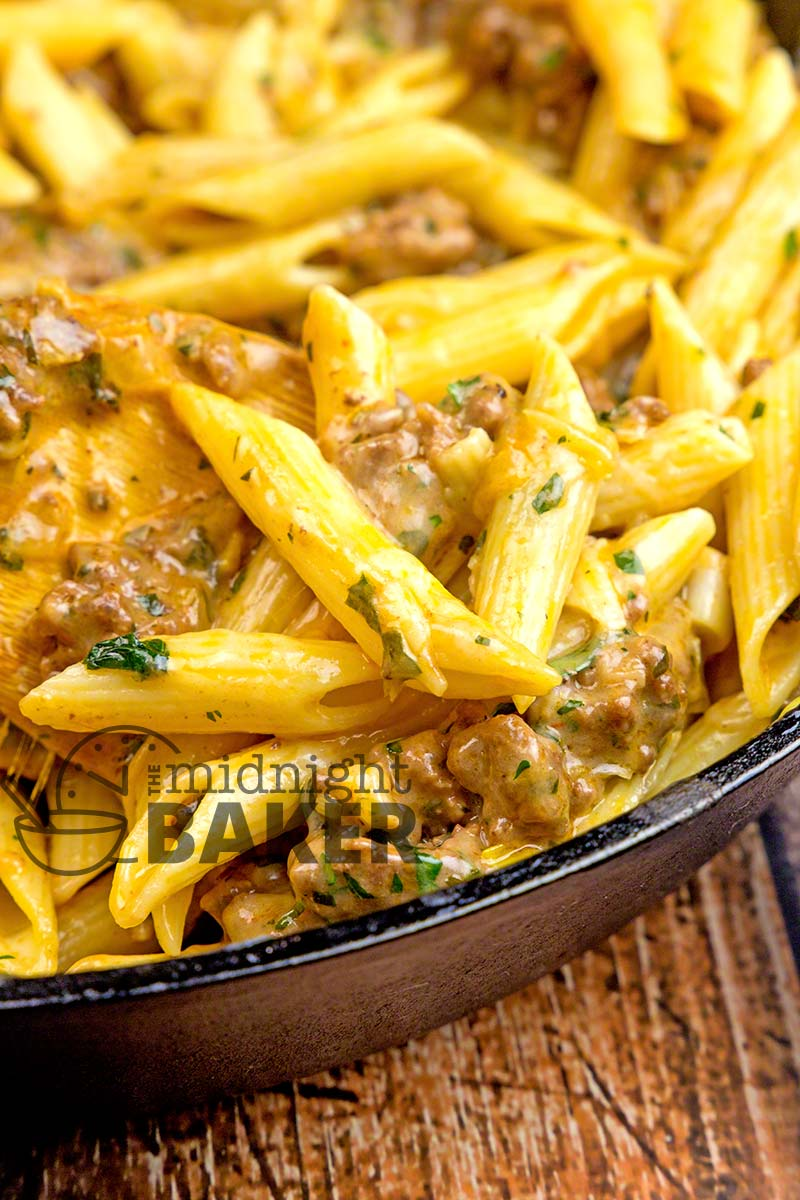 Great for using any leftover pasta! Simple and inexpensive cheesy ground beef skillet dinner that's nice enough for company