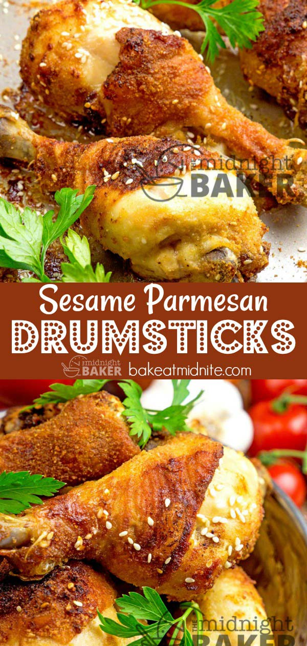Yummy drumsticks flavored with nutty sesame seeds and bold parmesan cheese.