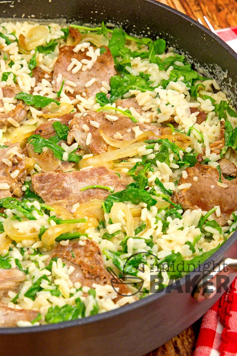 Quick and easy pork and rice skillet dinner that uses a convenience product.