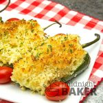 Tangy poblano peppers stuffed with a shrimp, rice and cheese make a perfect appetizer that can also double as a main course.