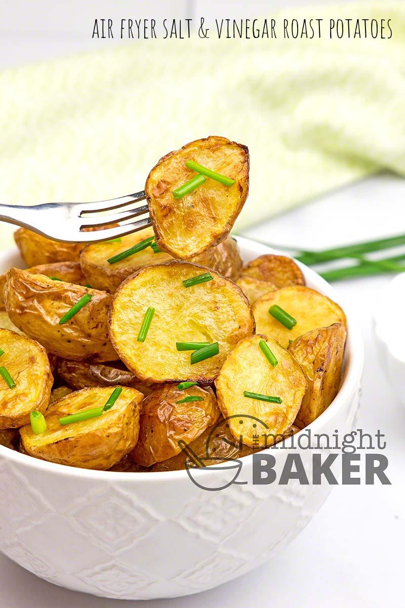 Air fryer salt and vinegar roast potatoes--perfect snack or side dish