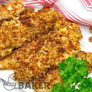 Air fryer pecan crusted chicken strips