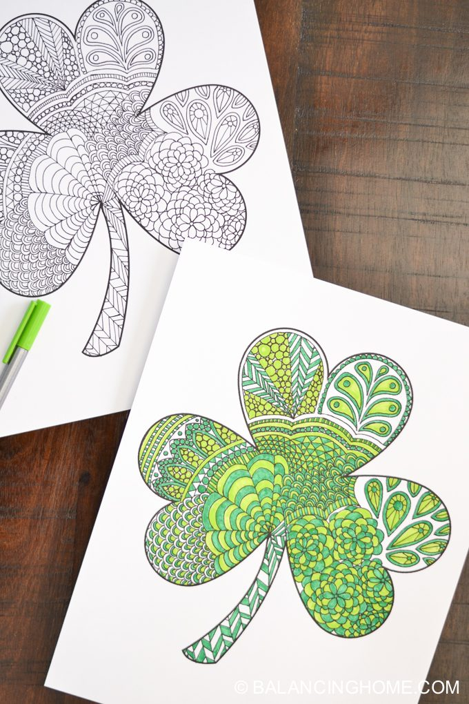 Shamrock coloring printable balancing home, love one another coloring page