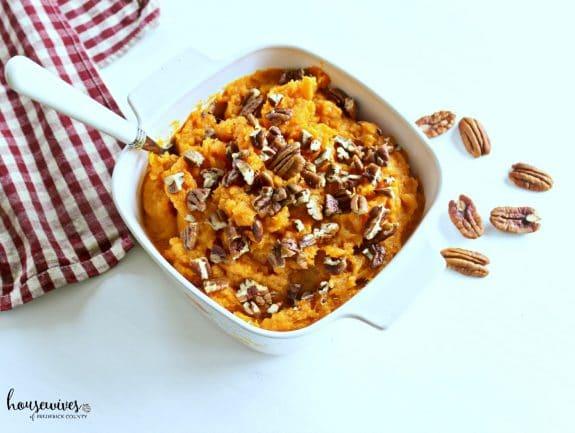 bowl of mashed sweet potatoes