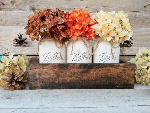 fall decor with mason jar mugs