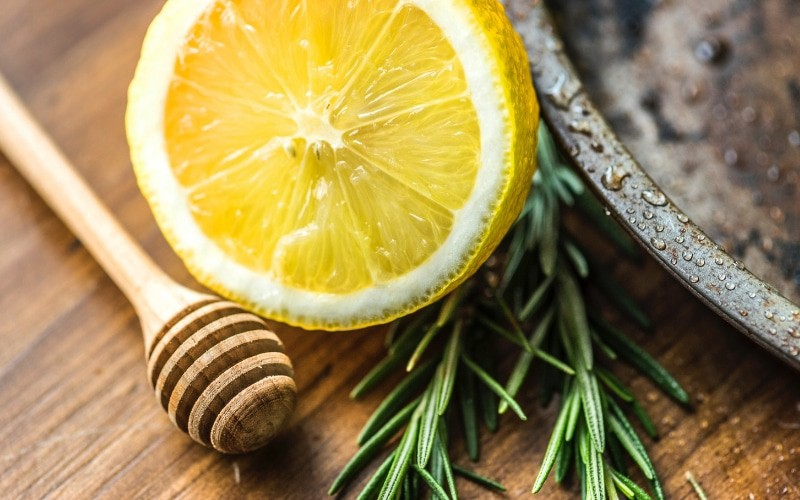 lemon and rosemary sprig