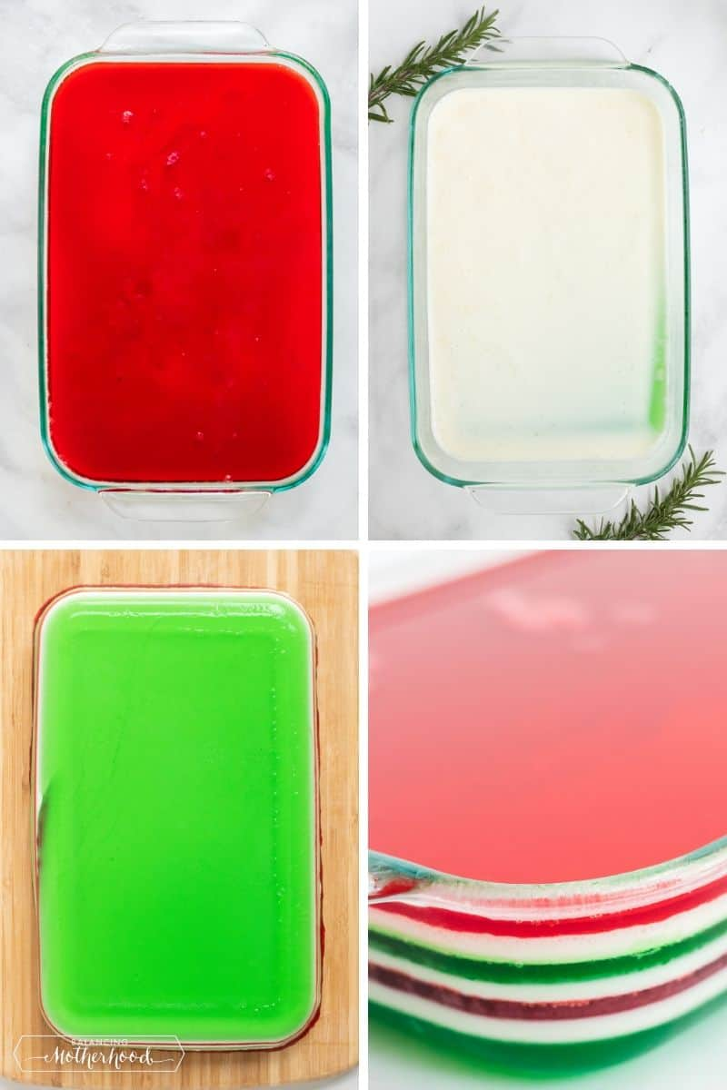 Layers of Christmas jello, red, white and gren