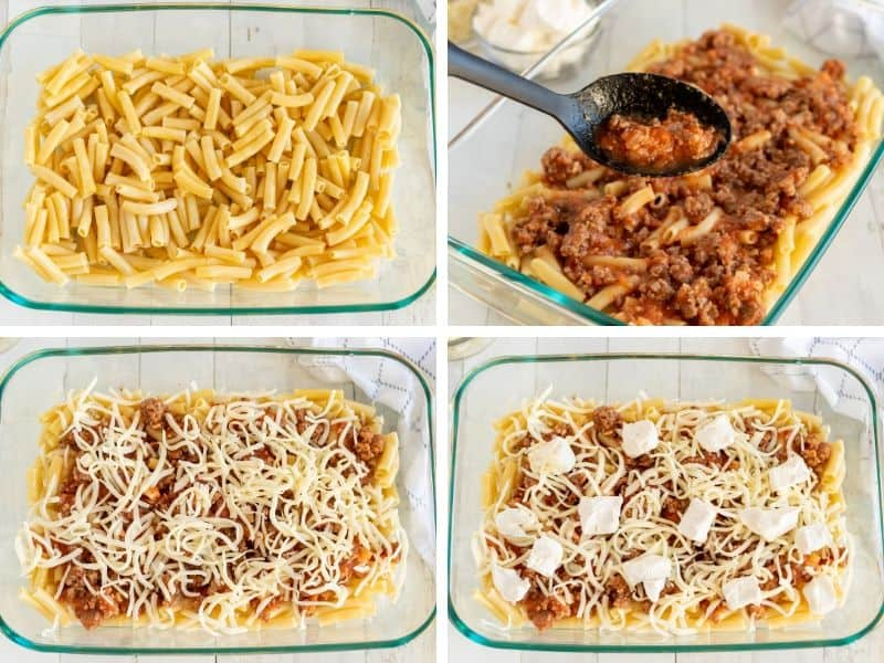 pasta, meat sauce, mozzarella cheese, and cream cheese layers of baked ziti