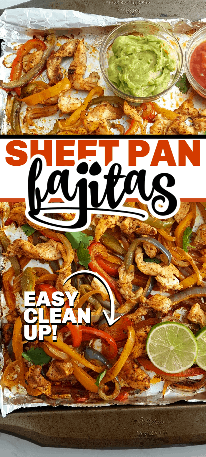 Sheet pan chicken fajitas are a one pan wonder that is cooked in the oven for a quick and easy weeknight dinner that everyone will love! They are so versatile with the ability to throw the chicken fajitas in a tortilla, on a salad, in a taco, or in lettuce wraps. #sheetpan