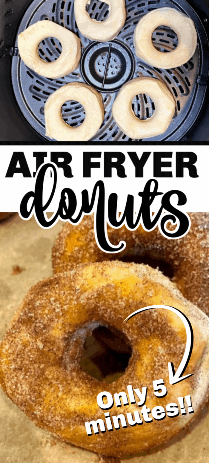 Air Fryer donuts have become a weekend favorite in our house. Made with canned biscuit dough, these donuts are lightly crisp on the outside, and soft on the inside. Dredge them in cinnamon sugar and you've got the perfect donut! And, no deep frying. No mess, no fuss, just a healthier version of your favorite donut.