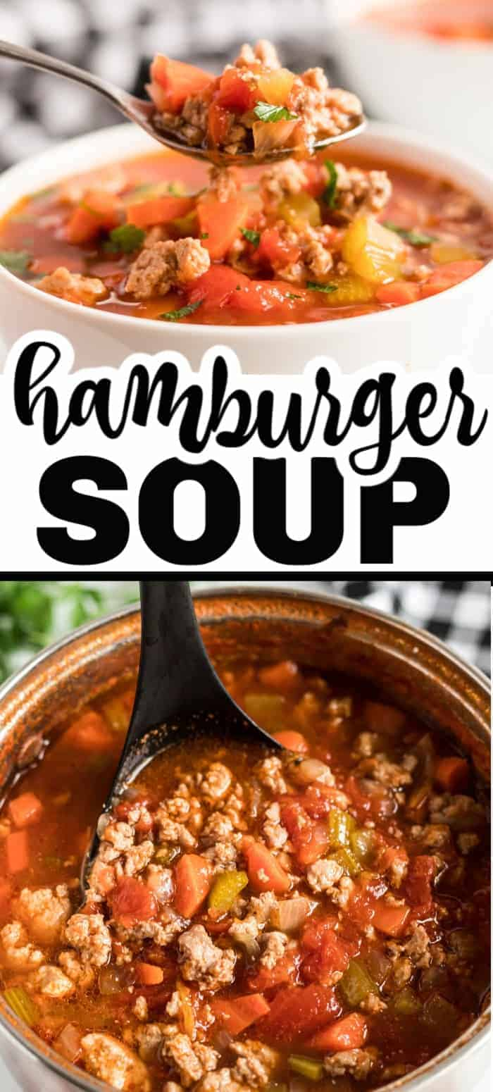 This hamburger soup recipe is a quick and easy dinner that's a family favorite. It's packed with ground beef, vegetables and seasonings. It's perfect for a big family meal, a get together, or when you're having company over!