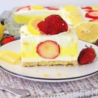 slice of strawberry lemon lasagna