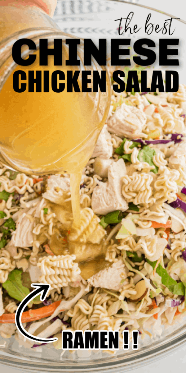 Chinese Chicken Salad is easily made at home by combining cabbage, toasted sesame seeds, slivered almonds, chicken and ramen noodles with an easy to make homemade Chinese chicken salad dressing.
