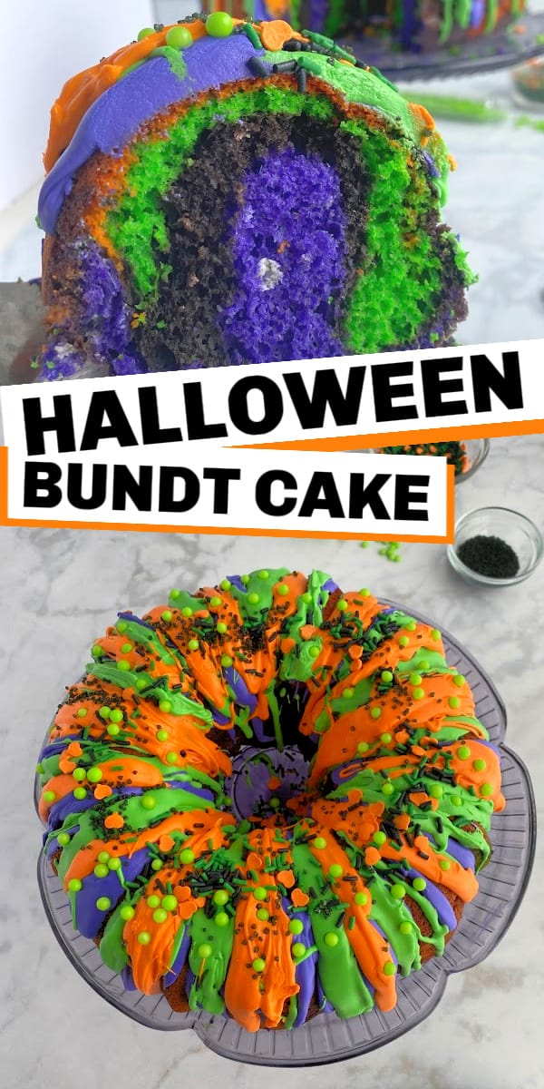 This Halloween bundt cake is super easy to make and is a visual treat that you can customize with your favorite Halloween colors. Using a box cake mix, and food coloring, you can make a creative swirl on the inside of this cake!
