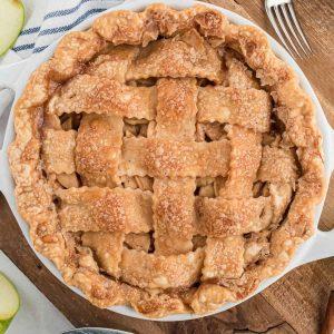 top down view of lattice work on apple pie