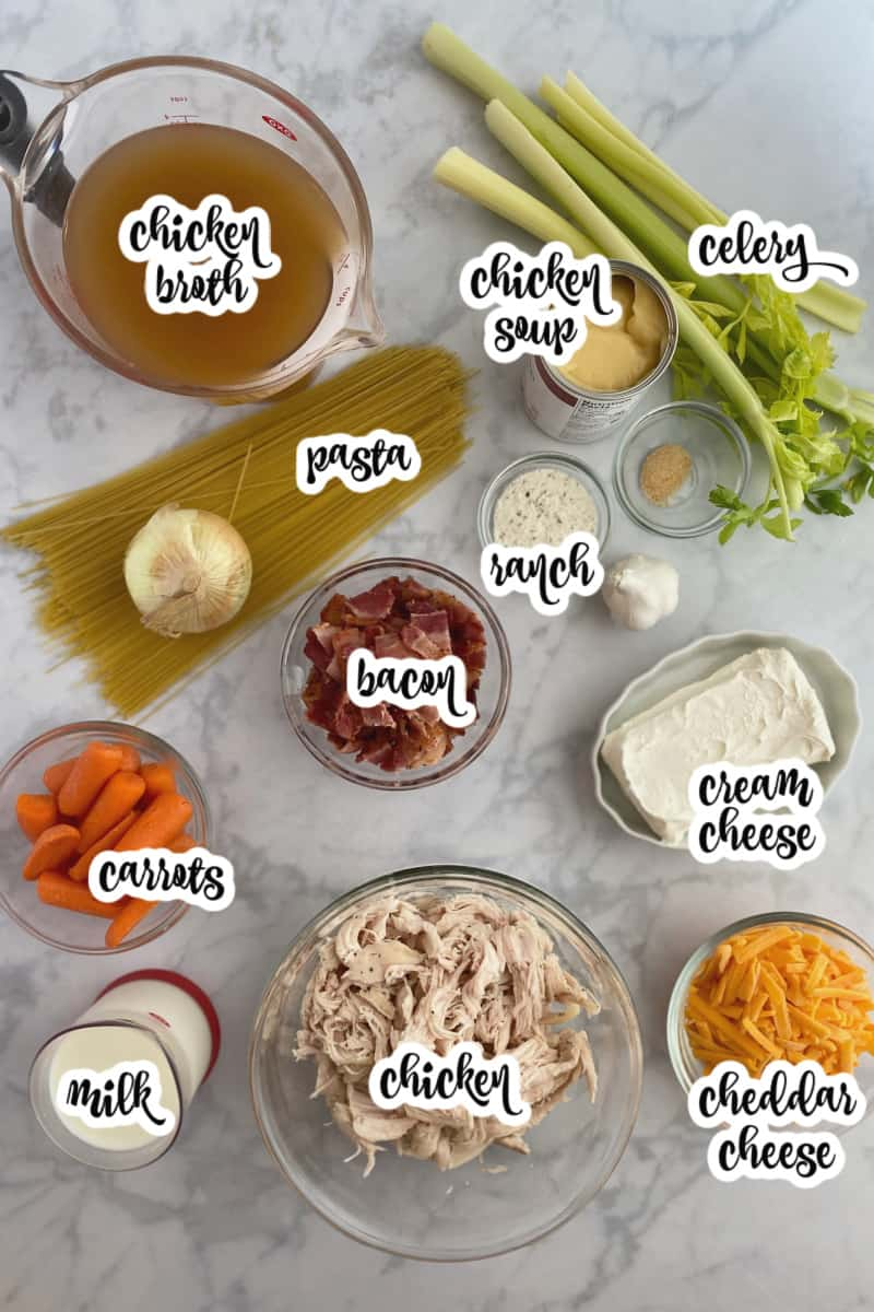 ingredients for crack chicken soup: chicken, cream cheese, bacon, cheddar cheese, broth, and more