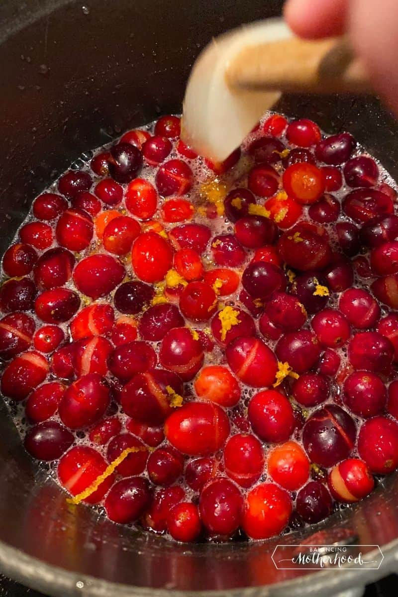 boiling cranberries in pot