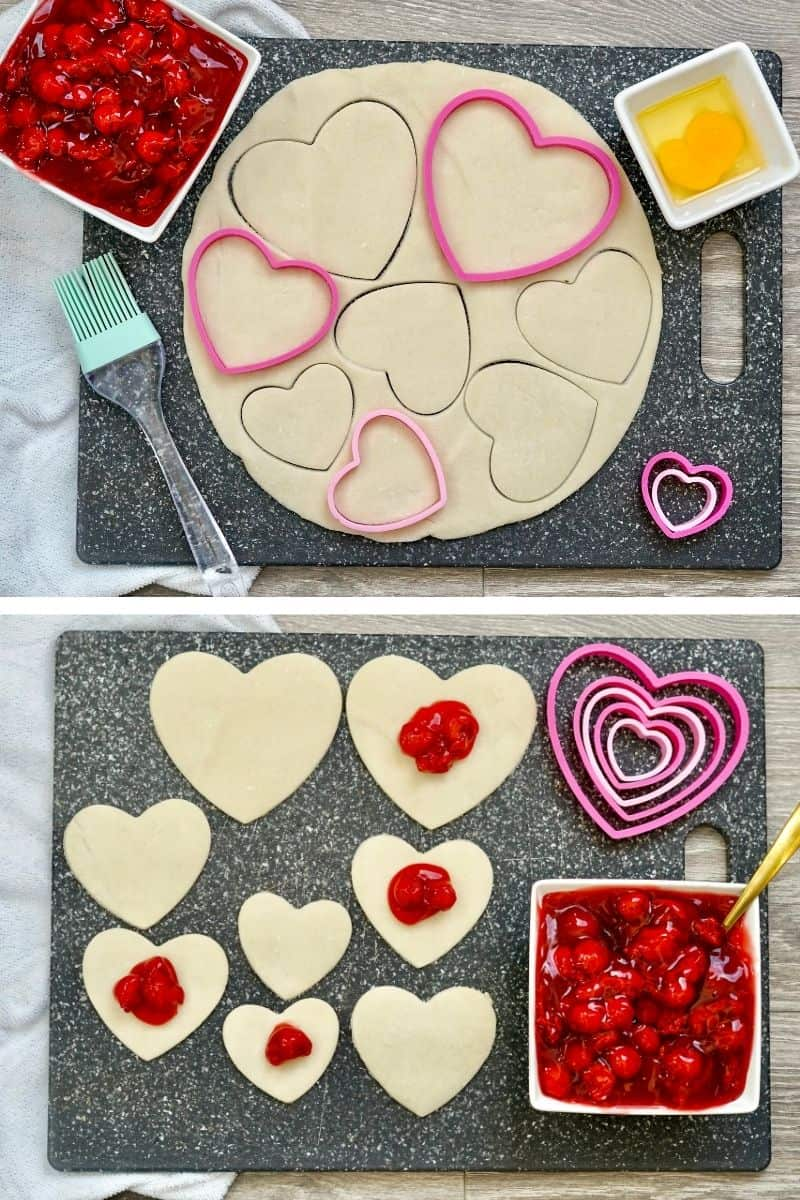cut out heart shapes from pie crust, add 1-2 tablespoons pie filling in middle