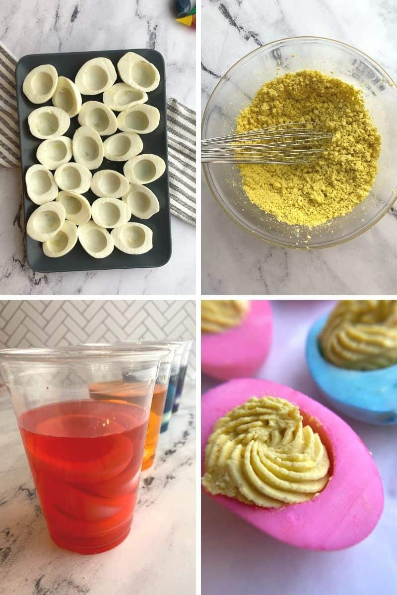 steps to make colored deviled eggs for Easter. Remove yolks, smash yolks with fork, add whites to food coloring, pipe finished yolk mixture into colored egg white