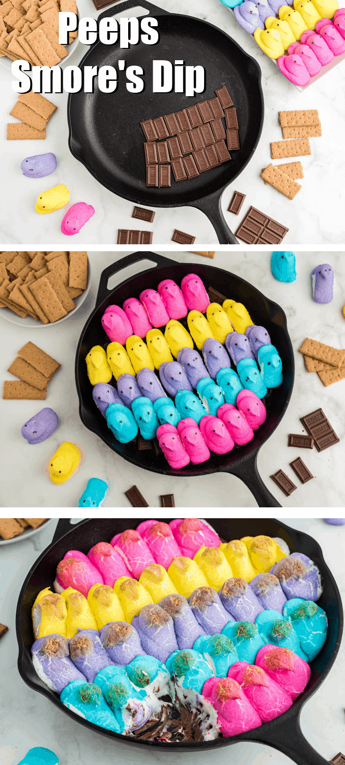 Peeps S'mores dip is the perfect, fun dessert for Easter. Melted chocolate topped with soft, warm Easter Peeps makes the perfect dip for graham crackers.